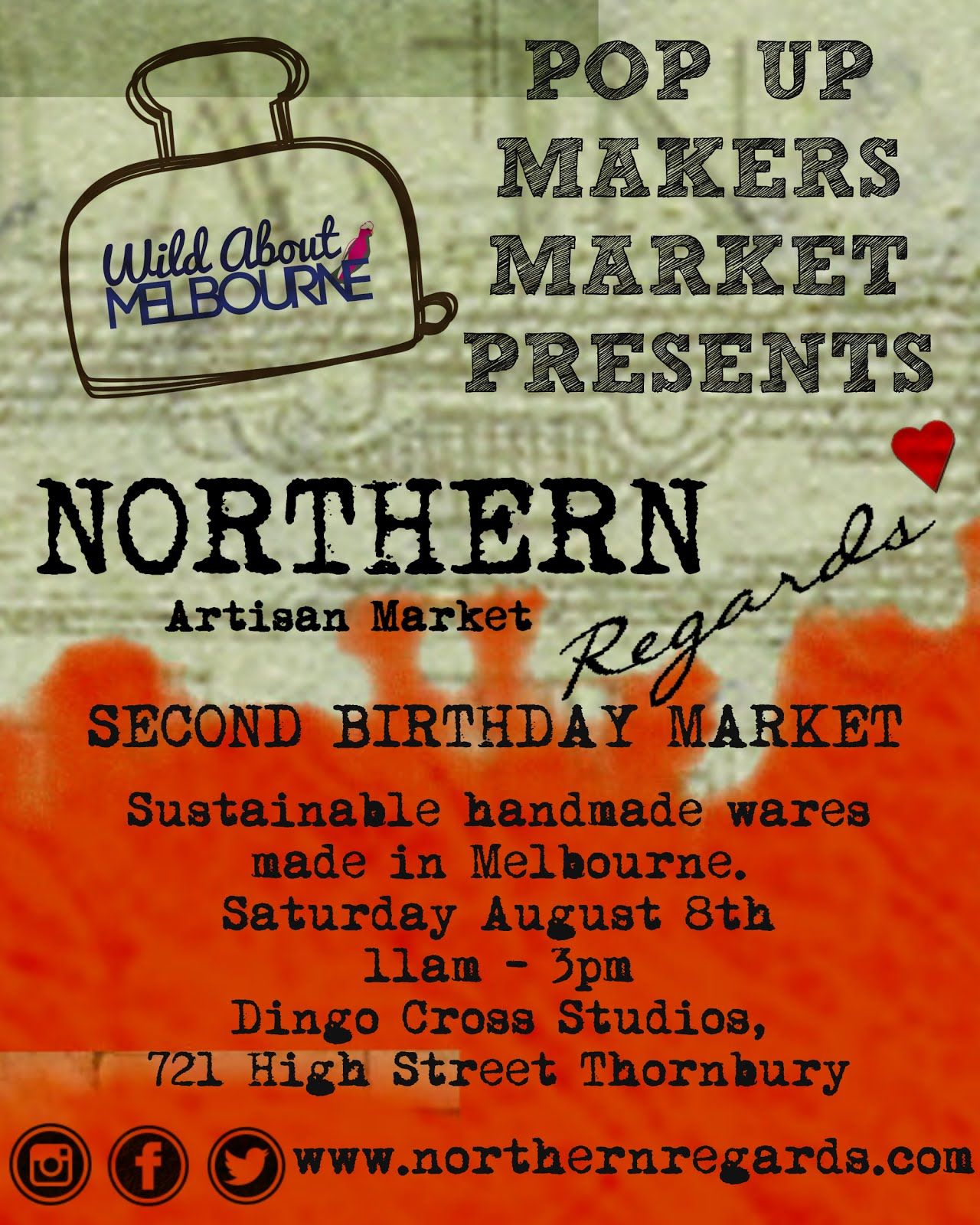 Wild About Melbourne Pop Up Makers Market presents Northern Regards SECOND BIRTHDAY market