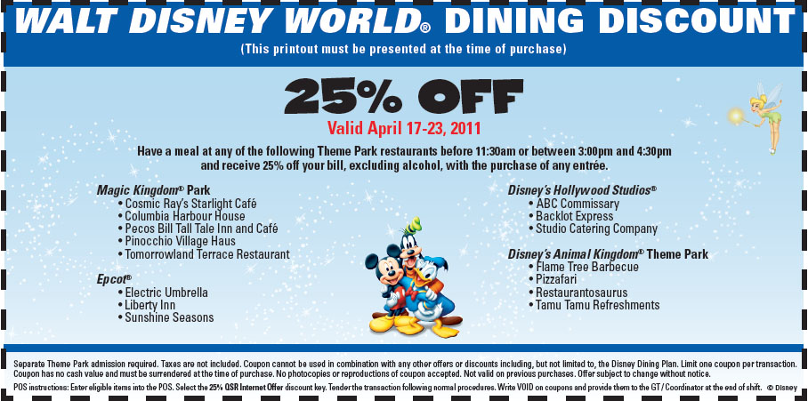 Discount dining coupons