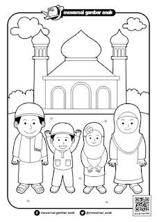 mewarnai gambar pergi ke masjid