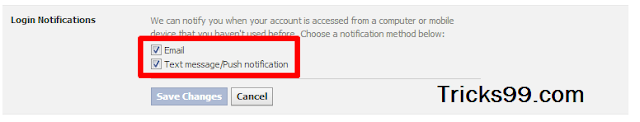 Login Notifications-Security Settings--secure facebook account