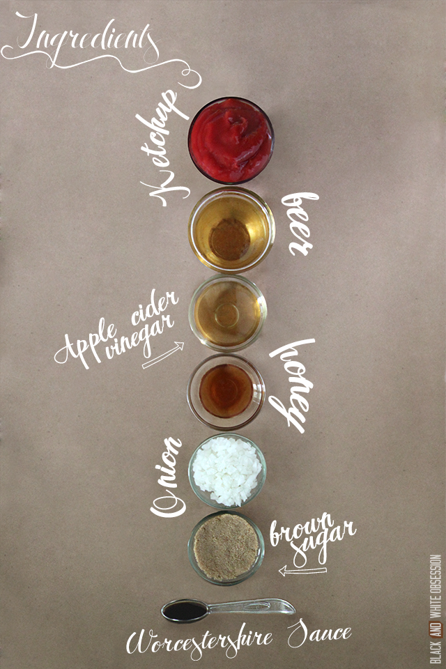 Simple Homemade Beer BBQ Sauce Recipe Ingredients   www.blackandwhiteobsession.com #homemade #recipe #BBQ #BBQ_sauce #Barbecue