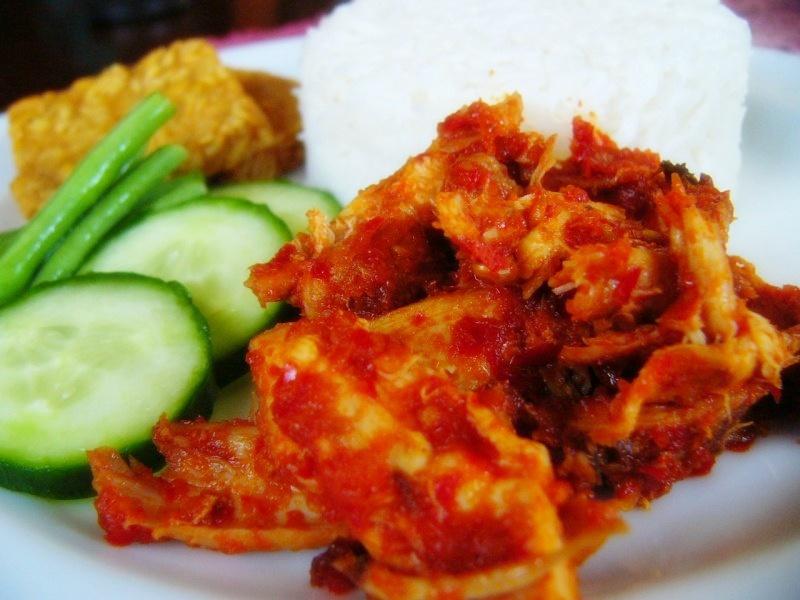 resep masakan indonesia resep ayam suwir pedas