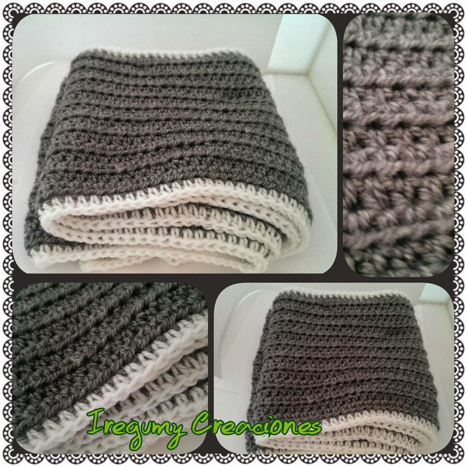 Esta bufanda esta hecha en crochet, mide dos metros y he usado lana katia.