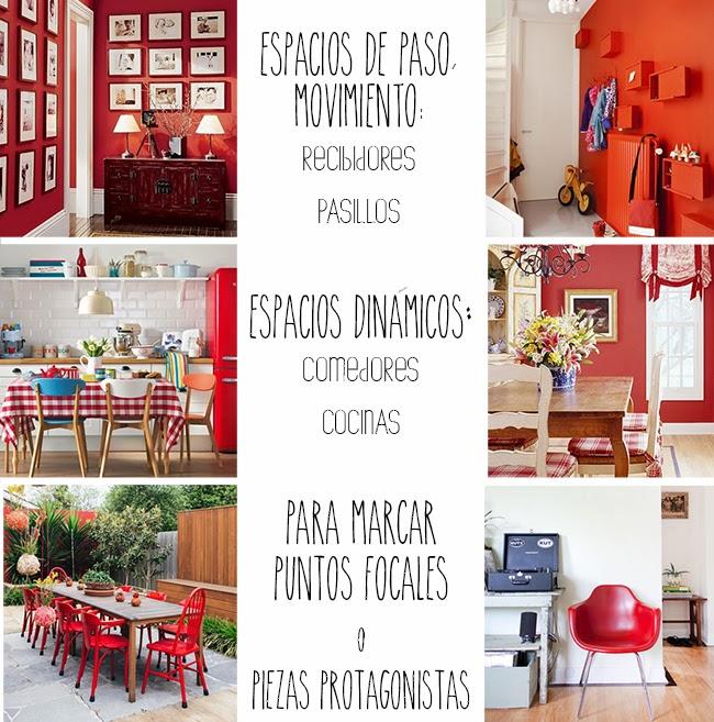 decoración en rojo. homepersonalshopper RED DESIGN ideas faciles para tu casa