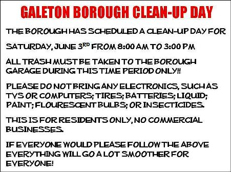 6-3 Galeton Borough Clean Up Day