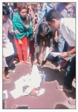 chandrapur 500 students varsity burn of Gondwana marksheets