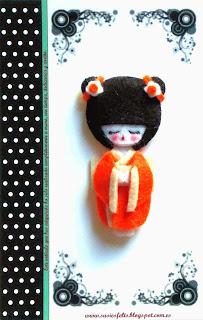 Susies, kokeshis, broches, fieltro, muñecas, japonesas, handmade