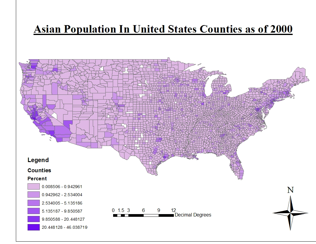 the first map displays the distribution of asians in the united states as an asian this map matches my impression of asian groups