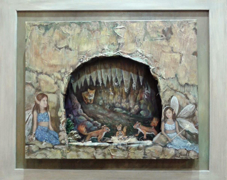 Cuadro al óleo de Rudi, hadas, paisaje onírico infantil.