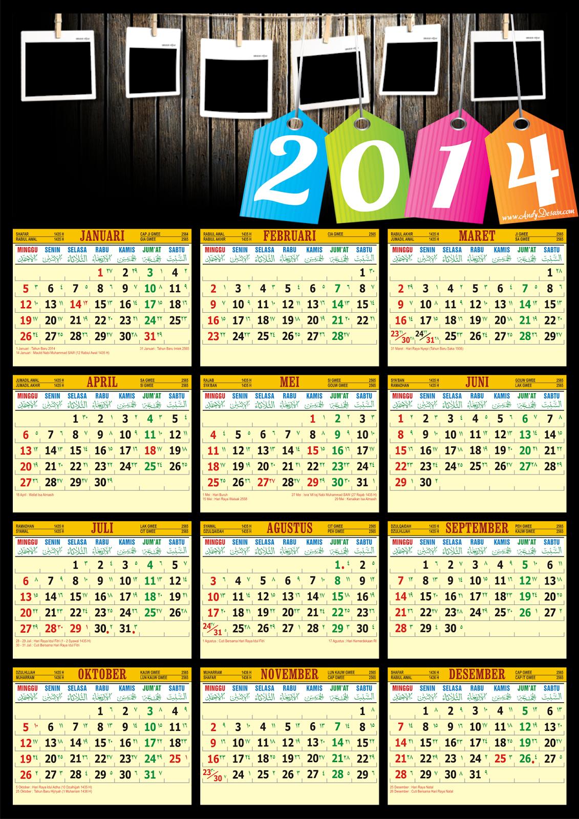 Kalender Tahun 2014 Versi AndyDesain