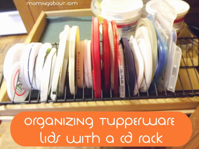 Organizing Tupperware Lids with CD Rack