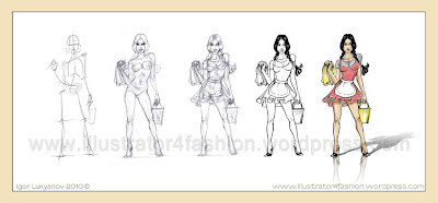how to draw a model for fashion design (drawing realistic fashion figure)