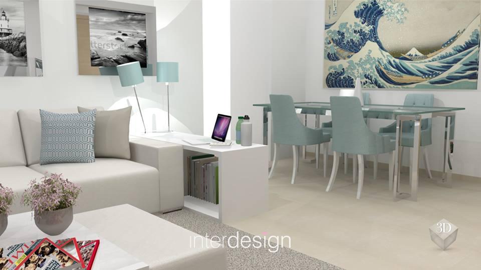 decoracao interiores interdesign: de Decoração da Sala Moderna e em Tons Claros pela Interdesign