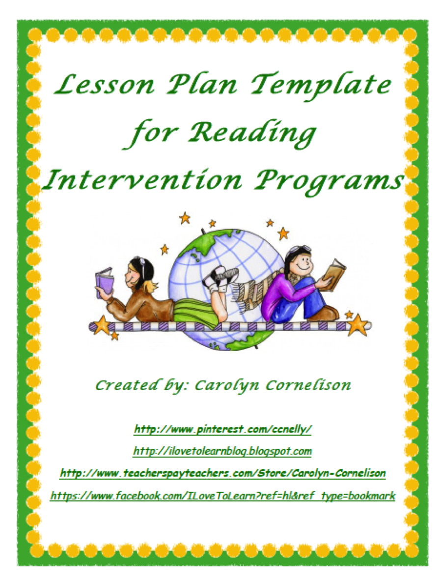 I Love To Learn - Reading intervention lesson plan template