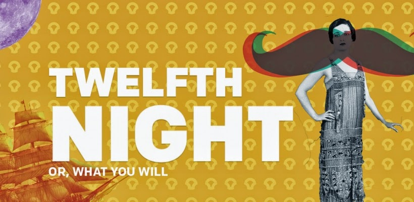 theater poster for Twelfth Night shows 1920s woman with mustache