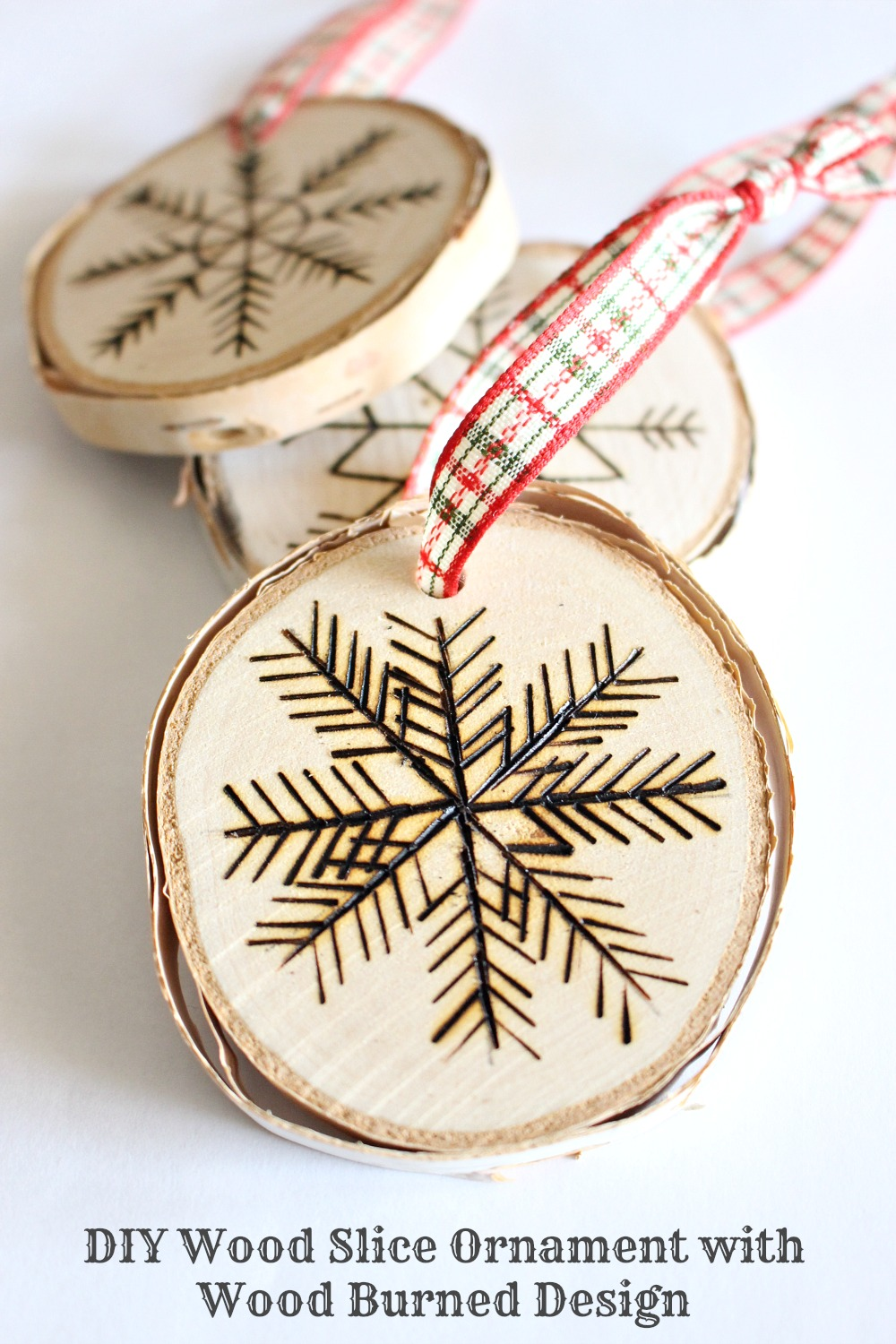 DIY wood burned birch slice ornaments