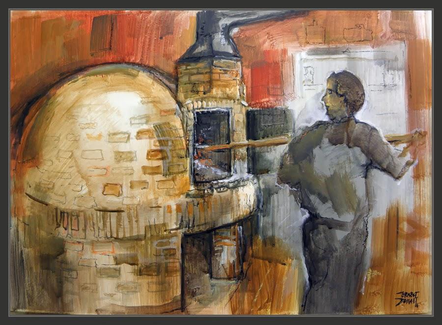 FORN DE LLENYA-CASTELLFOLLIT DEL BOIX-PINTURA-CATALUNYA-PAISATGES-ART-QUADRES-POBLES-BAGES-BARCELONA-PINTOR-ERNEST DESCALS-