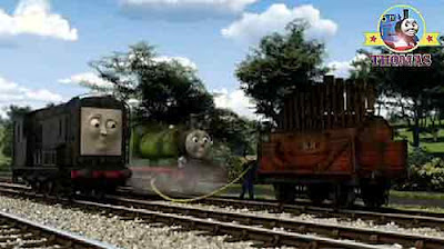 Thomas and Percy engine drivers connected rubber fire hose steam cylinder organ Calliope instrument