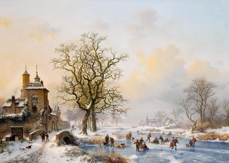 Frederik Marinus Kruseman - Winterlandschap met schaatsers bij een kasteel