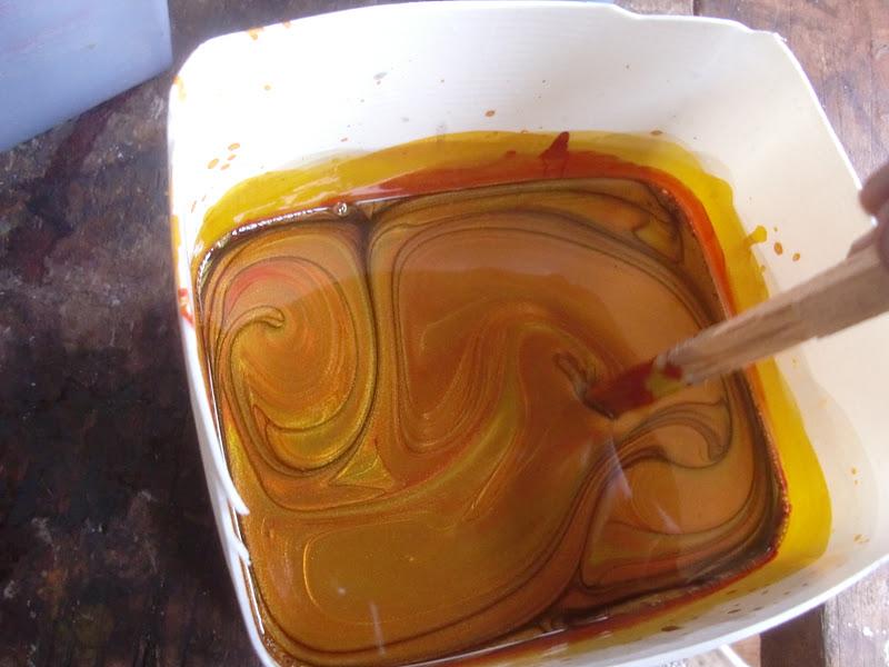 Decoraciones manualidades en madera imitacion pan de oro - Pintura color oro ...