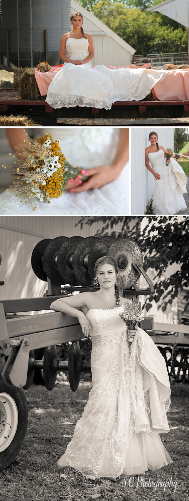 Hay wagon bride, farm bridal portraits, S.C. Photography
