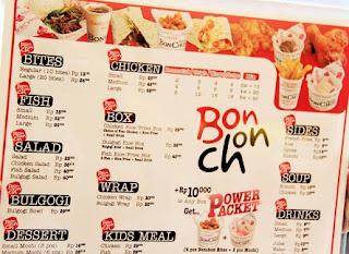 bonchon delivery, Daftar Harga Menu, Harga Menu Bonchon Untuk Keluarga Tercinta, menu bonchon beachwalk,