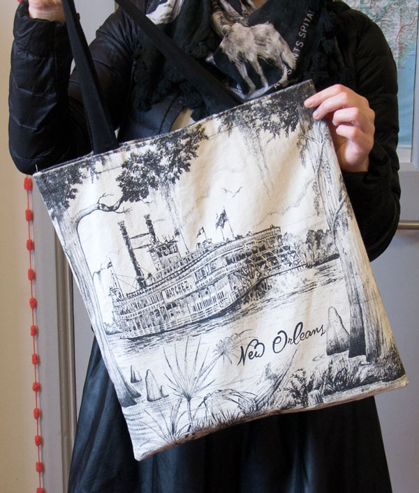A canvas tote bag from New Orleans with the Natchez
