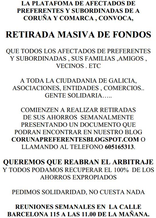 Plataforma da Coruña de afectados por preferentes e subordinadas ...