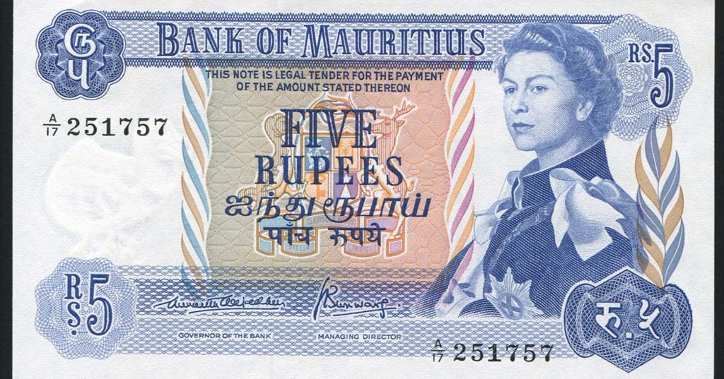 Mauritius Banknotes 5 Rupees 1967 Queen Elizabeth Ii World