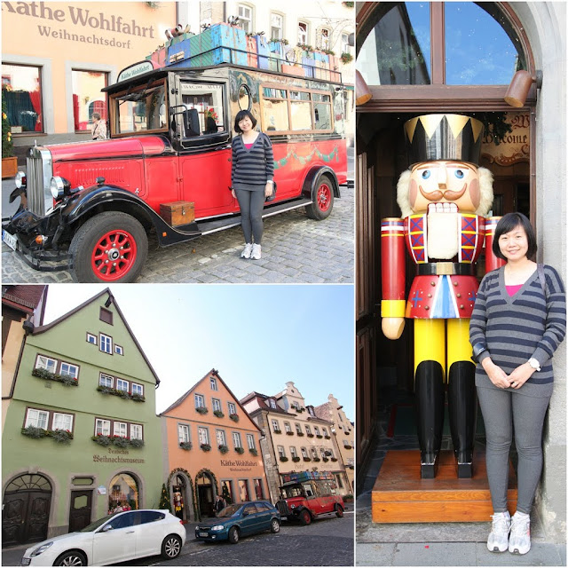Standing in front of the Christmas store which operates all year round in Rothenburg, Germany