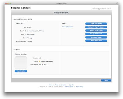 Creating Your App Record in iTunes Connect
