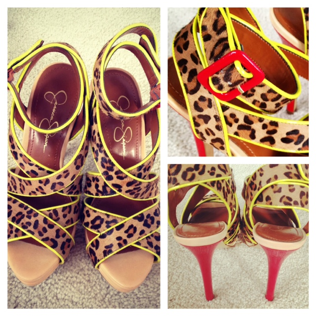 Jessica Simpson Leopard heels with red buckle and heel, leopard Stilettos, funky shoes, fashion, style, shoe love