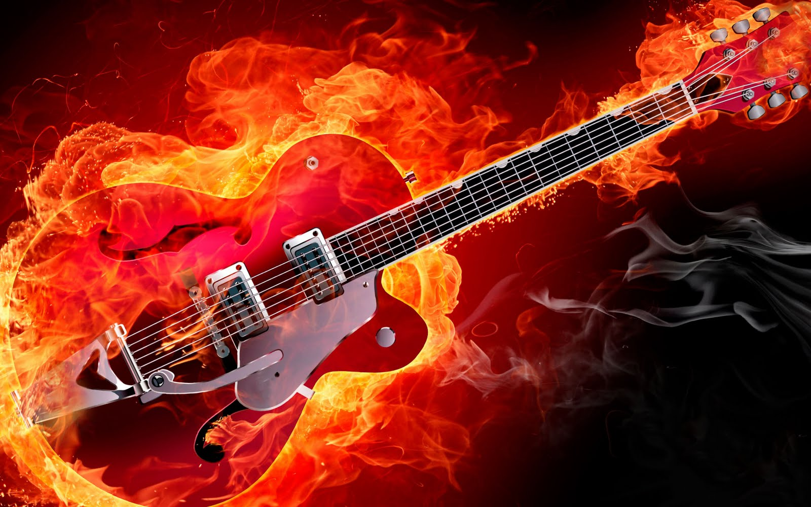 Electric Rockabilly Guitar On Fire Red Smoke Flames HD Music Desktop Wallpaper 1920x1200 Great Sound GreatGuitarSound