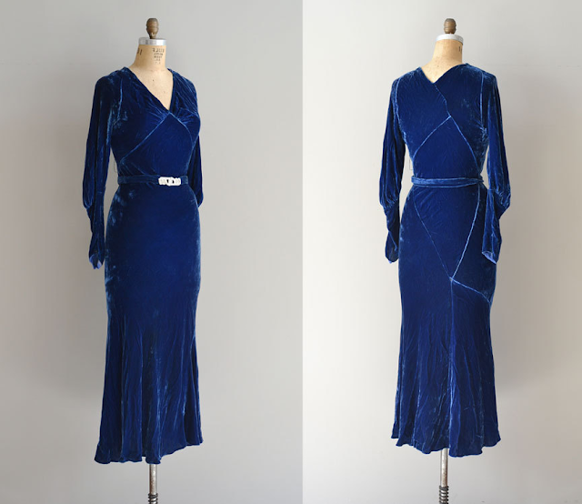 1930s Silk Velvet Dress #1930s #dress #vintage #fashion