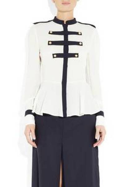 Alexander McQueen's military-inspired silk-georgette blouse