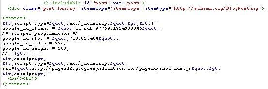 Como insertar anuncios dentro de los posts de blogger