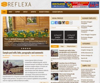 Reflexa is a Responsive, 3 Columns Blogger Template for Personal Blogs or Other. Reflexa Blogger Template has a jQuery Slider, Dropdown Menus, 468x60 Header Banner, Related Posts, 2 Right Sidebars, Social Buttons, Breadcrumb, 3 Columns Footer, Tabbed Widget and More Features