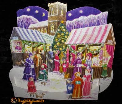 3D pop up Christmas cards by UK artist Ingrid Sylvestre Greeting Cards designer Three Dimensional Cards for Christmas and other occasions Fully 3 dimensional paper engineering cards pop out when opened Victorian Market traditional historical market scene with Victorian costumed figures in snow  Ingrid Sylvestre North East artists UK
