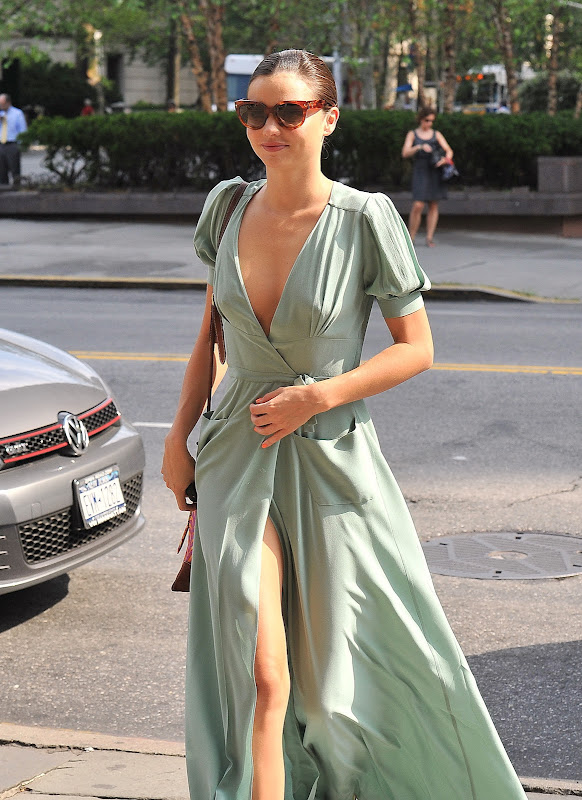 Miranda Kerr modern day Aphrodite in ming green dress