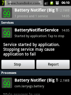 contoh mematikan service battery Notifier , tekan tombol Stop