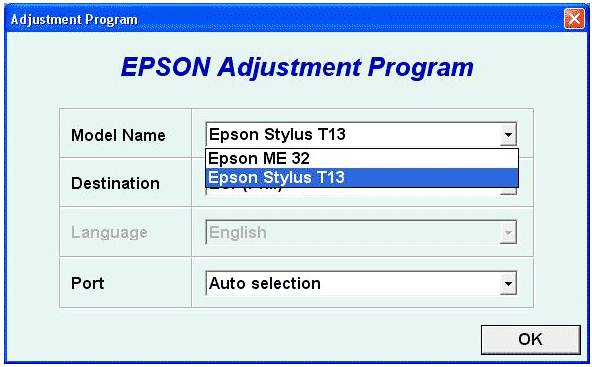 Epson T13, ME32 Resetter Download