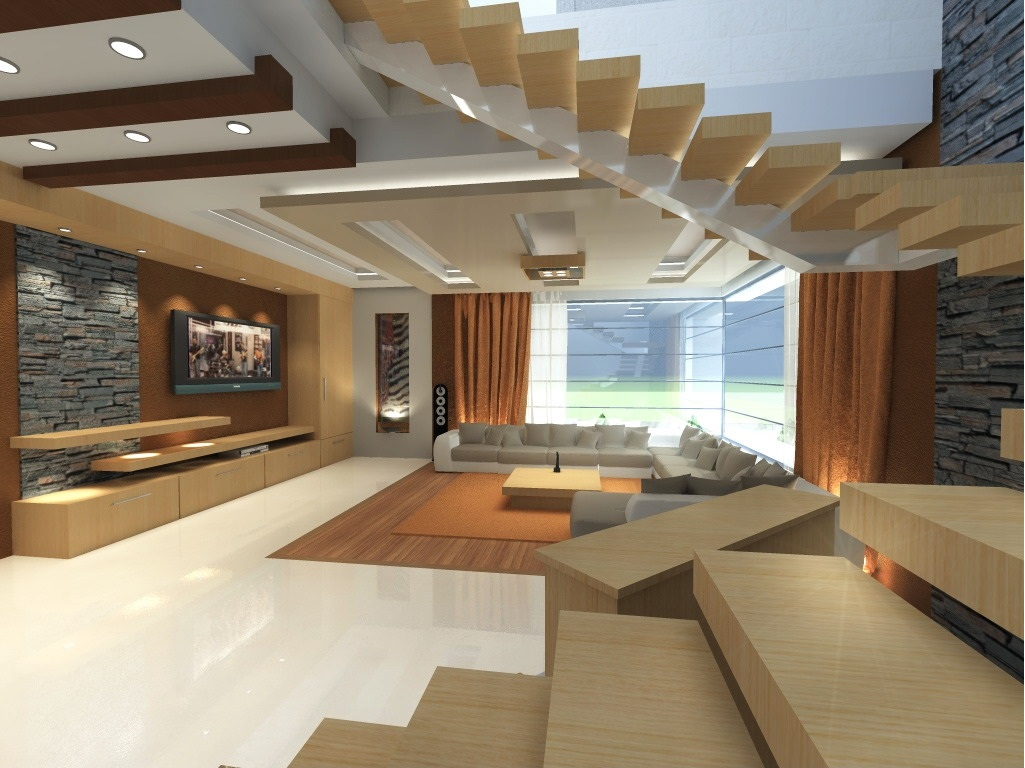 Modern living room design with wooden stairs for Room design ideas wood