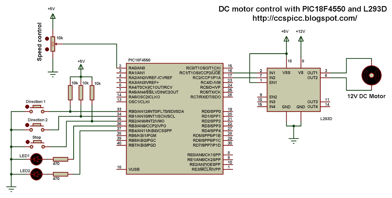 Dc motor control with pic18f4550 and l293d proteus for Two speed motor control