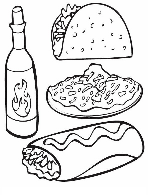 printable mexican food coloring pages - photo#26