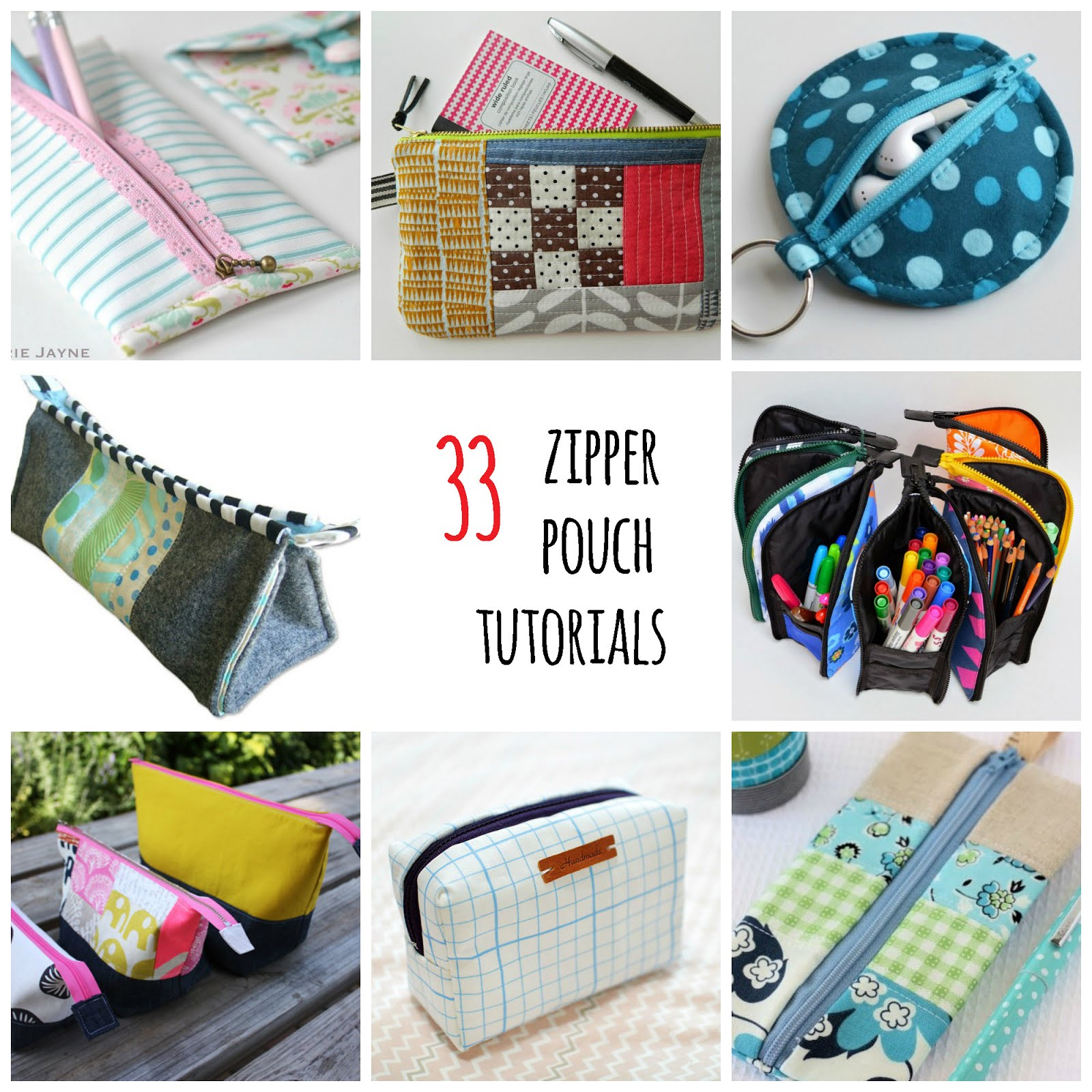 33 free zipper pouch tutorials