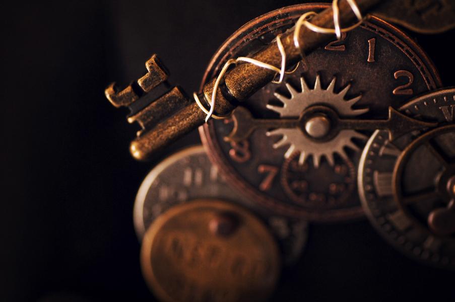 steampunk gears pin