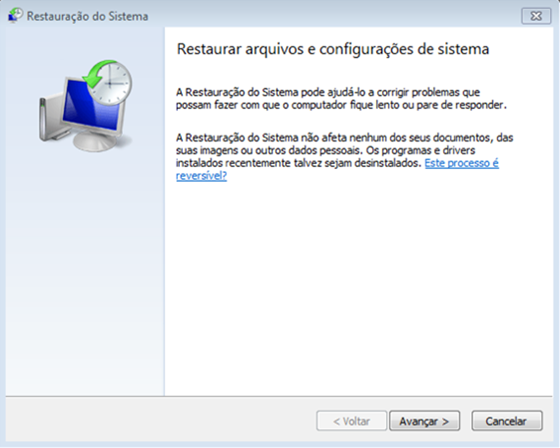 Restauração do sistema do Windows - 560x448