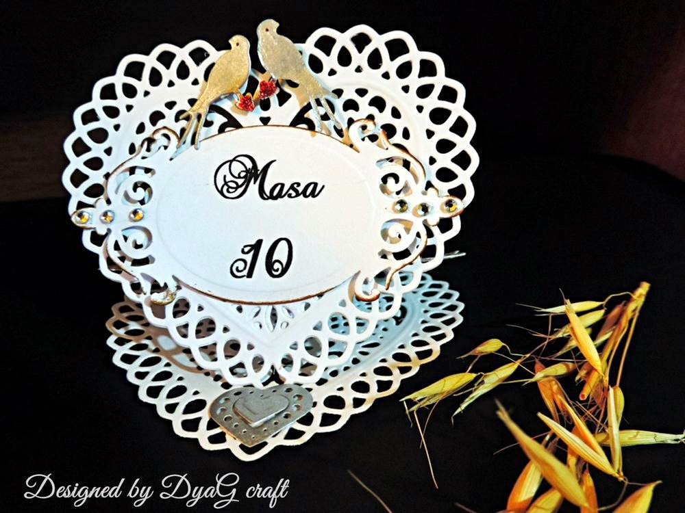 numar de masa nunta din dantela hartie sub forma de inima