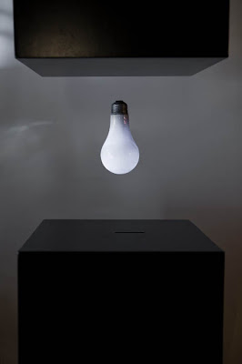 Powered on light bulb levitates in the air