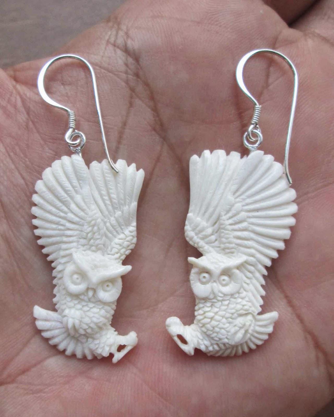 Hand carved owl bone earring